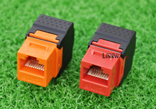 RJ45 Jack Snap in Jack Network 25pcs Punch Down Stand RJ45 Jack in Red or Orange
