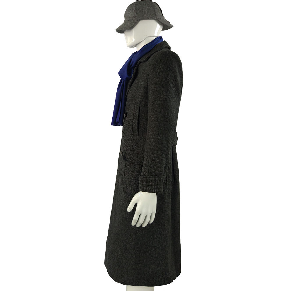 Cosplay Sherlock Holmes Cape Coat Costume Wool Long Jacket Outfit With Scarf New6