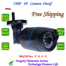Support SD Card WIFI 720P IR Outdoor Bullet ONVIF Security Mini Night Vision P2P IP Cam IR Cut Filter 2MP Lens IPC