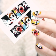 Hot Sale Nail Stickers And Decals With Red Lip Punk Hip Hop Style Water Transfer Full Nail Art Accessories Manicure Decorations