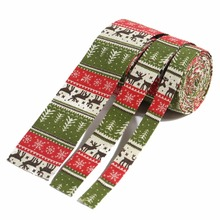 ZERZEEMOOY NEW 7/8Inch 1inch 2inch 4Yard/rolls Christmas Style Fabric Folding Ribbon Cotton Linen Dog Collars Lace Tree and deer