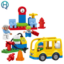 HuiMei Joy City Bus Big DIY Building Blocks Bricks Baby Early Educational Learning Train Birthday Gift Toys for Kids Children