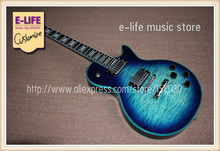 Wholesale and Retail Custom LP Electric Guitar Ebony Fretboard Faded Blue Color & Left Hand Available