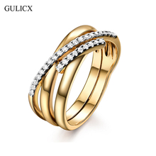 GULICX Valentines Gift Classic X Shape Cross Rings for Women Zirconia Micro Paved Gold-Color Jewelry For Birthday Gifts(China)
