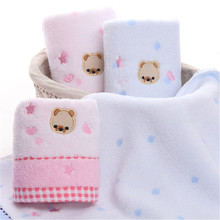 New 100% Cotton Towel Embroidery Bear Pink Blue Towel Soft High Absorbent Bathroom Drying Washcloth Cartoon Beach Bath Towel(China)