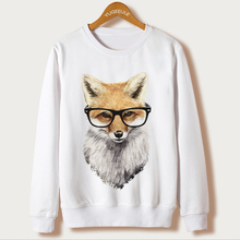 Fox Harajuku Sweatshirt Women Pullover 2017 Casual Animal Print White Hoodies Full Sleeve O-neck Women Clothing Casual Hooded(China)