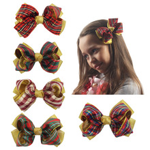 Plaid Hair Bows Hair Accessories Fashion Baby Children Scottish Tartan Fabric Organza Hair Bow With Alligator Clip For Girls