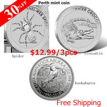 Mix 30pcs/lot(10set) 1 One Troy Oz Ounce 999 Fine Silver Plated Coins,Web Spider +kookaburra+crocodile coin Free shipping(China)