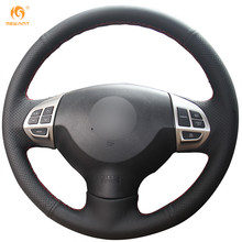 Mewant Black Artificial Leather Car Steering Wheel Cover for Mitsubishi Lancer EX Outlander ASX Colt Pajero Sport