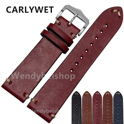 CARLYWET 20 22mm Man Women Handmade C Leather Brown Black Red Blue VINTAGE Wrist Watch Band Strap Belt Silver Polished Buckle(China (Mainland))