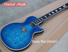 Free Shipping-Semi-finished Guitar,Blue Color,Quilted Maple Veneer,White Binding,Mahogany Body,can be Customized