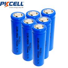6PCS PKCELL ICR 14500 750mAh 3.7V Rechargeable AA Li-ion Vape Mod Battery Flat Top