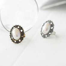 Free Shipping  Factory Wholesale Fashion Price Simple Retro Carved imitation pearl crystal Ring!