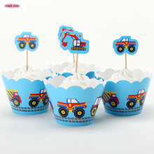 2017 New 12pcs Cupcake Topper And 12pcs Cupcake Wrapper Cartoon Toys Car Party Decoration Kids Birthday Party Supplies