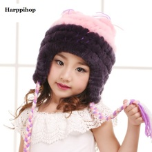 2017 Newest girl's Fashion Real Knitted Rex Rabbit Fur Hats Children Winter Warm Charm Beanies Caps Headgear baby student caps