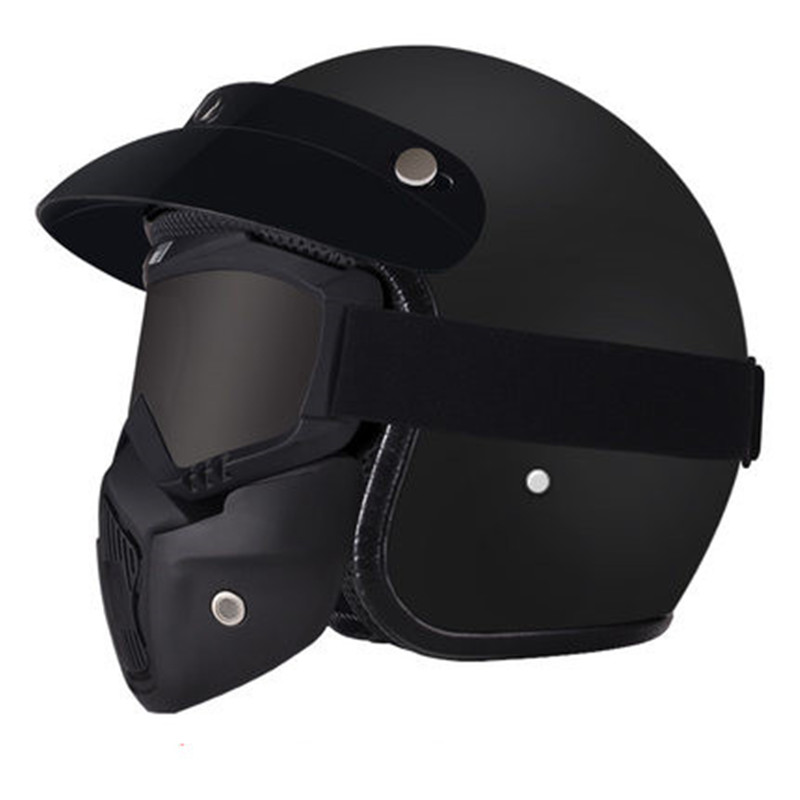1Piece 57-62cm ABS Plastic Motorcycle Helm Motorcross Capacete Half Helmet for Retro Matte Bright Black title=