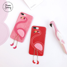 From Jenny Newest 3D Flamingo Case for Iphone 6 7 8 Case Pink PU Leather Phone Cases for iphone 7plus 8plus 6s Plus Coque Funda(China)