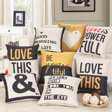 1Pcs Love Pattern Yellow Black Cotton Linen Throw Pillow Cushion Cover Home Decor Sofa Bed Decor Decorative Pillowcase 40142
