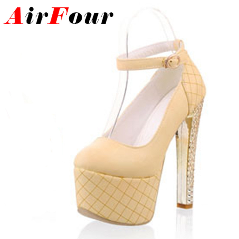 Airfour Sexy Extreme High Heels Pumps Women Shoes Buckle Pink Pumps Platform Wedding Shoes Women High Heels Shoes Woman<br><br>Aliexpress