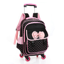 2017 Fashion children cute cartoon school bags for girls travel trolley bag detachable backpacks wheeled bag School backpack(China)