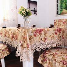 XT003 European Garden luxury water-soluble lace tablecloth elegant home textile decoration dustproof table towel chair cover set