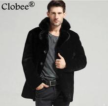 Elegant Style Men Faux Mink Fur Winter Coat Casual Business Men Brief Elegant Black Big Size Turn Down Collar Jacket Coat YY1026