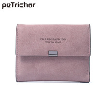 New Korean Style Female Card Holder Wallets Photo Short Fashion Letter Money Hasp Purse PU Leather Simple Lady Bags Gifts(China)
