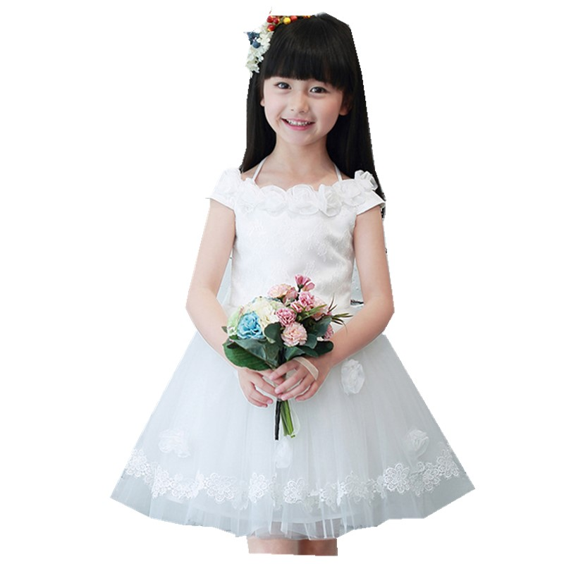 Girl Dress Summer Solid Color Korean Flower Lady Childrens Dress Kids Clothing Mesh<br>