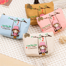 Mini Canvas Bags Canvas Cute Adorable Swing Girl Coin Bag Cartoon Lovely Wallet Pouch Card Purse Zip Key Holder Case