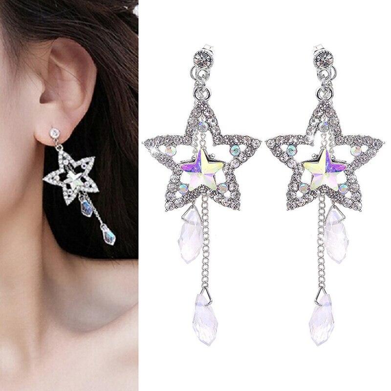 Woman Shiny Stars Dangle Earring Jewelry Lovely Long Earrings Young Girl Silver Water Drop Earrings Simple Style