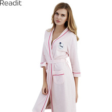 Readit Robes 2018 Spring Lovers Sexy Bathrobe Women Deep-V Nightwear Robes Couples Cotton Sleep Lounge Bathrobe PA2763(China)