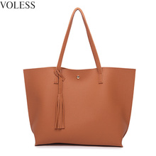 Fashion Tassel Women Shoulder Bags High Quality Soft Pu Leather Handbags Large Capacity Casual Tote Bags Ladies Bags Sac A Main