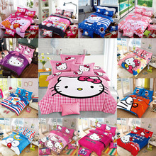 New Bedding Cartoon Hello Kitty cut Mouse 4pcs/3pcs Duvet Cover Sets Soft Polyester Bed Linen Flat Bed Sheet Set Pillowcase(China)