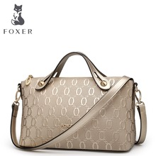 FOXER Brand 2017 New Arrival Women Cowhide Leather Embossed Shoulder Bags & Handbags High Quality Casual Messenger Women Bags(China)