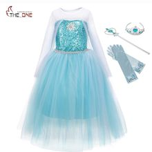 MUABABY Girls Snow Queen Costume Blue Elsa Snow Princess Dress up with Train Halloween Christmas Party Sequined Cosplay Fantasy(China)