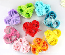 24pcs flower/lot mixed color gift bowknot wedding favor cleaning bath paper petals rose flower soap(China)