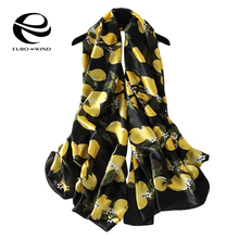 Lemon Scarf Luxury Brand Women Oversize Cute Pure Silk Scarves and Bandana echarpes foulards femme marque Long Shawl Fashion New