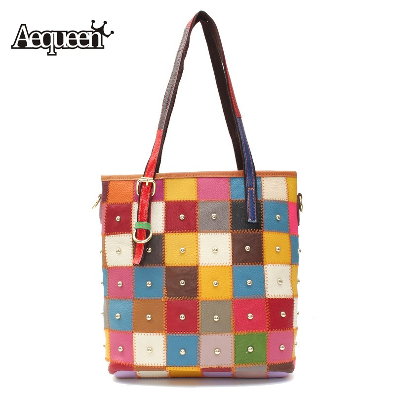 AEQUEEN Women Shoulder Bags Sheepskin Patchwork Rivets Square Colorful Messenger Bags Crossbody Large Capacity Ladies Handbags<br>