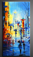 modern paintings canvas painting people hold umbrellas on street knife oil painting wall sticker wall pictures for living room(China)