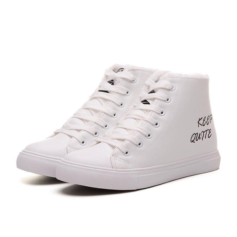 Women Snow Leather Boots Warm Winter Plus velvet Waterproof Korean Version Black White Shoes Simple Fashion Style<br><br>Aliexpress
