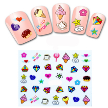 1PCS Nail Art Water Transfers Stickers for Nails Decals Stickers Manicure Water Decals Cake Fruit Food Ice Cream Nail Stickers(China)