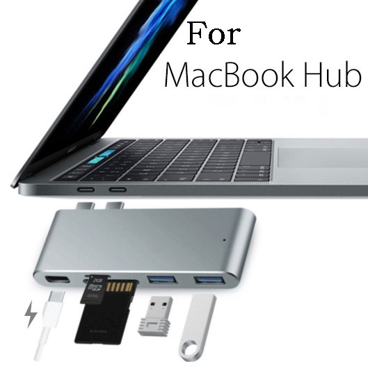 For Macbook Pro Dual Type-C HUB TO  2*USB 3.0 +SD/TF Carder Reader+Lightning Interface (Thunderbolt) Fast Data Transmission<br>