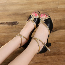 New Arrival Women Ladies Prom Party Ballroom Tango Salsa Latin Dance Shoes Heels Imitation Sheepskin 5 Colors Dancing Sandals(China)