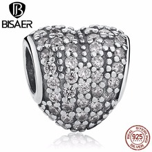 BISAER New DIY Dazzling 925 Sterling Silver Heart Shape Seed Charm Beads Jewelry Making With Pink Cubic Zirconia(China)