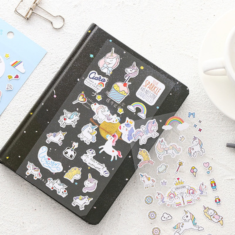 Cute Christmas Sticker Kawaii Stationery Girl Heart Unicorn Stickers Decoration School Office Supplies Stickers Seal Labels