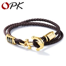 OPK Pirate Anchor Leather Bracelets For Men There Layers Braided Bracelet Brown Band & Gold Color Clasp Jewelry Gifts HD1134