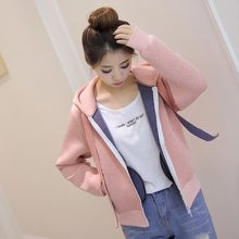 Autumn New Korean Version Of The College Wind Hood Space Short Cotton Baseball Clothing Jacket Female Sweater #1890458