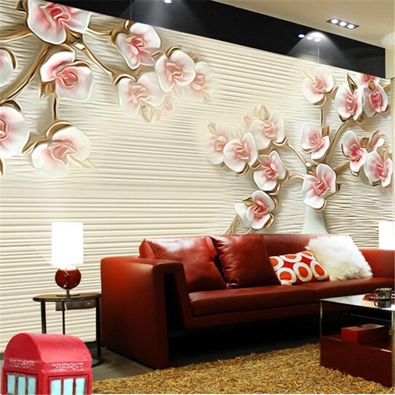 Custom 3d photo wallpaper Stereoscopic 3D wallpaper embossed abstract art backdrop European living room large mural plum frock<br><br>Aliexpress