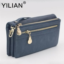Hot Selling Women's Purse Long Design PU Leather Women's Long Wallet Female High Capacity Double Zippers Clutch Purse Wristlet(China)