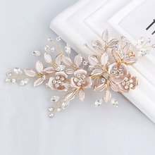 Elegant Handmade Golden Austrian Crystals Rhinestones Flower Leaf Wedding Hair Clip Barrettes Bridal Headpiece Hair accessories(China)